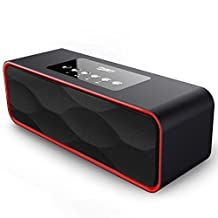 Portable Speakers, Basse Wireless Bluetooth Speaker with FM Radio, 2200mAh Battery, Hands-Free Calling Built-In Mic, Micro TF SD Card, USB Input, AUX Line-In, Powerful Dual 5W Audio Driver - Black