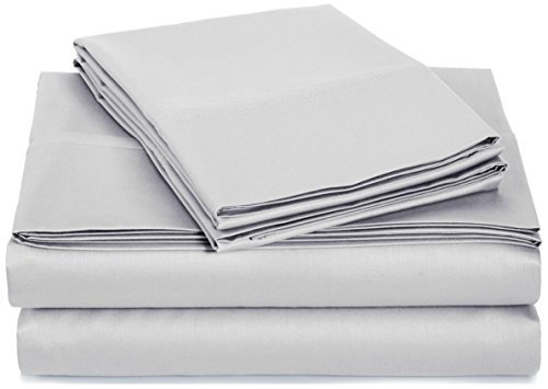 AmazonBasics 400 Thread Count Sheet Set, 100% Cotton, Sateen Finish - Cal King, Stone - 100% Cotton Set