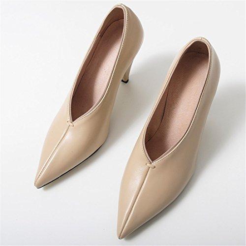Tacones Mujer Sandalette Apricot Conos dede Zapatos Y Altos Zapatos Americana Punta Europea De PRwBq6n8P