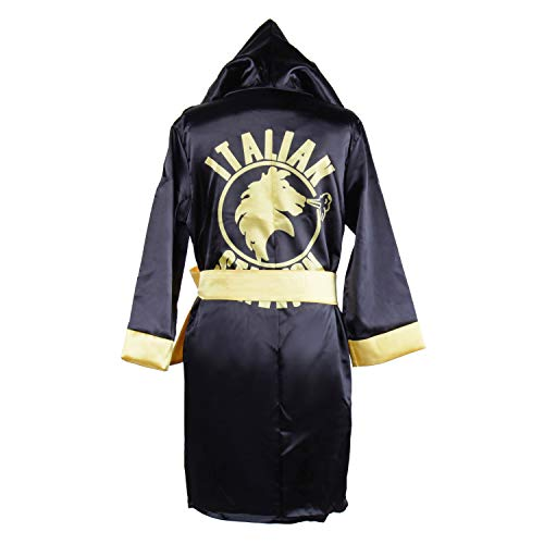 Classic Movie Clothes Apollo American Flag Children Boxing Costume Robe Cloak Hooded Shorts Kids Italian Stallion Suits (Black, M) -
