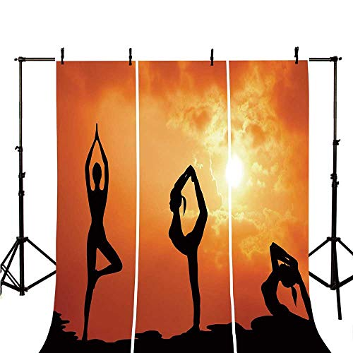 (Yoga Stylish Backdrop,Collection of Healthy Woman Practice Yoga at Sunset Outdoors Body Stretching for Photography,98.4