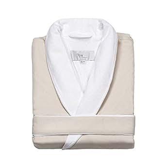 Turkishtowels Mens and Womens Silk-Soft Microfiber Outside, Cotton Terry Inside Luxury Spa Robe (Small/Medium, Beige)