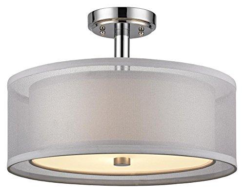 Dolan Designs 3 Light (Dolan Designs 1275-26 Double Organza 3 Light Semi Flush mount, Chrome)