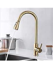 SUGU keukenkraan met douche, uittrekbare mengkraan voor keuken waterkraan keuken eenhandsmengkraan 360 ° draaibereik waterkraan verstelbare sproeikop lente tuit modern Geborsteld goud