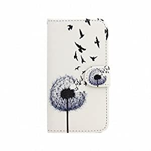 LEMORRY iphone 5 5S Wallet Flip Case, Cute Bird & Dandelion Protective Soft Silicone TPU Cover + Durable PU Leather Cards Slot Stand-View Bumper Magnetic Pouch