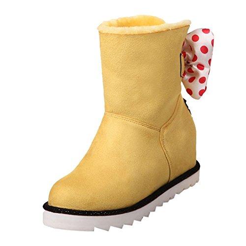Carolbar Donna A Pois Si Piega Simpatici Stivali Da Neve Tacco Caldo Comfort Nascosto Giallo
