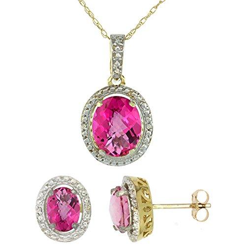 Jewellery World Bague en or jaune 9carats avec Topaze ovale rose naturel Boucles d'oreilles et pendentif Set Accents de diamant