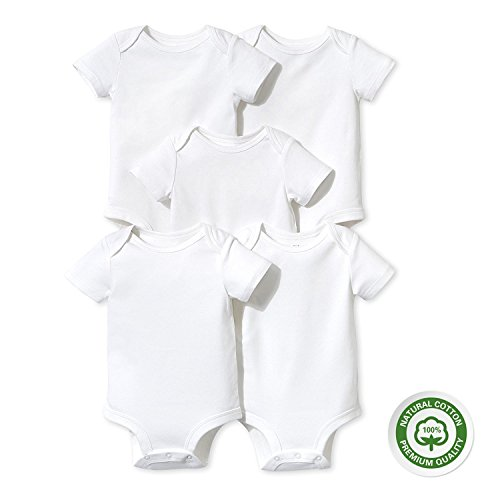 Achma Unisex Baby's 100% Cotton Bodysuits Short Sleeve/Long Sleeve 9-12Months White - Long Sleeve Short Sleeve Bodysuit