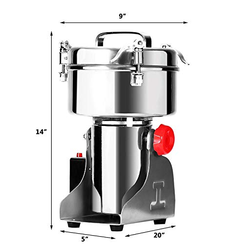 Happybuy Electric Grain Grinder 2000g Pulverizer Grinding Machine 4000W Mill Grinder Powder Machine 50-300 Mesh Food Grade Stainless Steel Swing Type Grain Grinder Mill for Kitchen Herb Spice Pepper Coffee by Happybuy (Image #1)