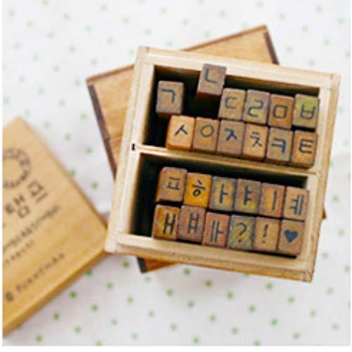 Korean Alphabet (Hangul Set 2) Rubber Stamp Letters 한글 스탬프 Characters Wooden Box Vintage Antique Finish - DIY ()