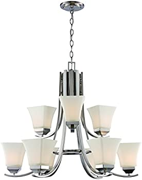 9 LT Brushed Nickel Chandelier w/ White Frost Bell Glass Shades