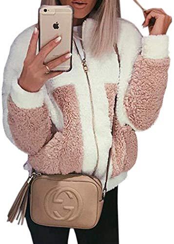 Ecowish Women's Coat Casual Lapel Fleece Fuzzy Faux Shearling Zipper Warm Winter Oversized Outwear Jackets White