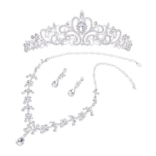 Tinksky Bridal Wedding Jewelry Set Rhinestone Tiara Necklace Earrings