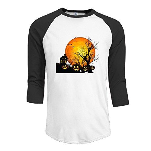 Man Halloween Batman Cotton 3/4 Sleeve Raglan Shirts Black Medium -