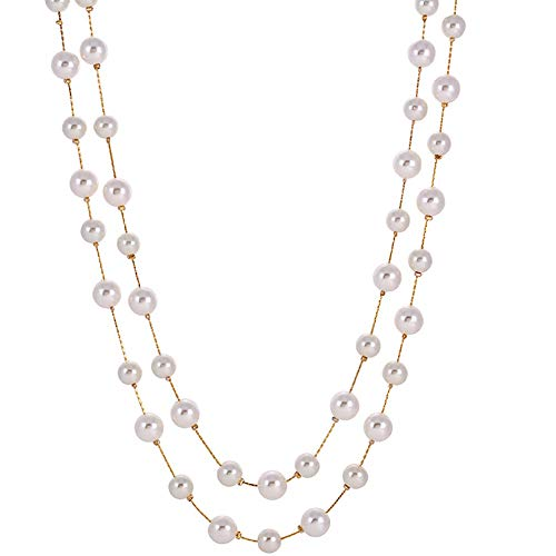 Jude Jewelers Long Double Strand Faux Pearl Statement Cocktail Party Necklace (White)
