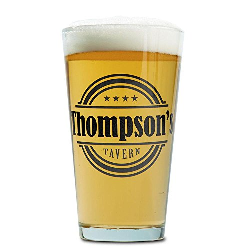 (Personalized Tavern Pint Glass, 16 oz beer glasses custom printed in black ink with name)