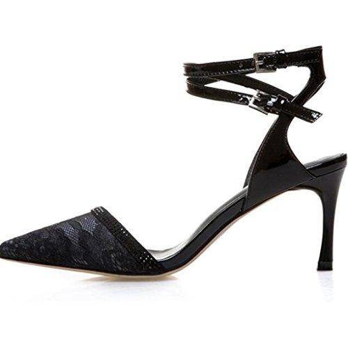 W&LM Sra Tacones altos Soltero Sandalias Zapatos huecos Tacones altos Propina De acuerdo Una banda de palabras Zapatos individuales Zapatos de boca poco profundos Black