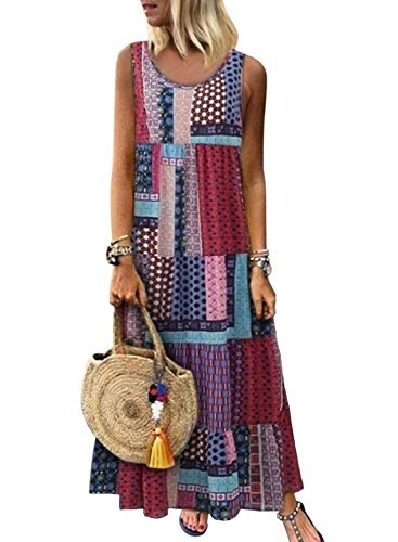 (HOTAPEI Women's Bohemian Splicing Round Neck Sleeveless Printed Casual Maxi Dresses Summer Beach Boho Long Dress Purple US 8 10)