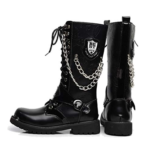 Alaec Mens High Top Martin Boots Army Military Tactical Boots PU Leather Wellington Boot for Motorcycle Riding Long Boots Size 37-45,Black,42 -
