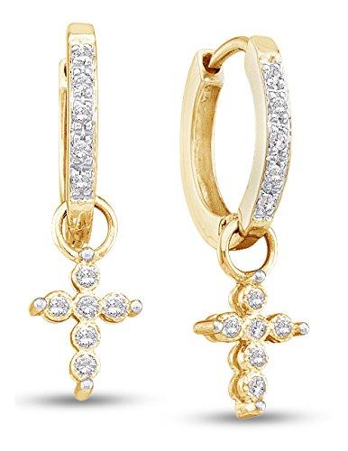 10K Yellow Gold Cross Shape Dangle Hoop Prong Set Diamond Earrings (1/10 cttw.)