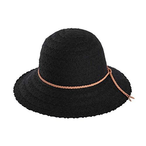 - BRMINROU Women Summer Sun Hat Floppy Open Knit Braided Trim Vented Foldable Cotton Beach Hat (Black)