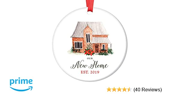 2019 White House Christmas Card.Our New Home Ornament Est 2019 Christmas Collectible Bridal Shower Wedding Gift First Time House Homeowner 1st Holiday New Property Buyer 3 Flat