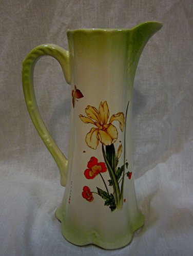 Vintage Ceramic Pitcher with Iris and Poppies (Approx 10