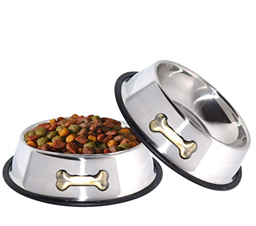 GPET Dog Bowl 32 Oz Stainless Steel Bowls with Anti-Skid Rubber Base for Food or Water Perfect Dish...