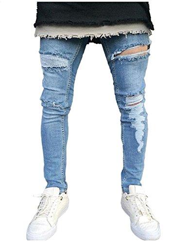 de Hombre Pantalones de Jueshanzj Destruidos Vaqueros 87wxTq