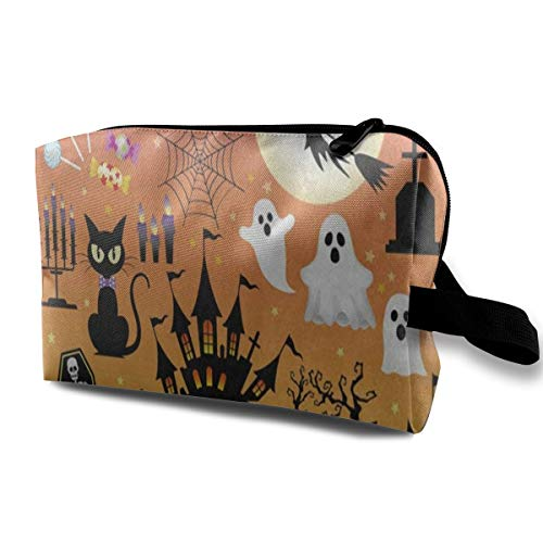 Travel Cosmetic Bag Portable Toiletry Bag Halloween Sugar Skull Owl Cat Tree Ghost Makeup Pouch Case Organizer For -