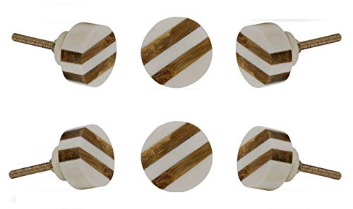 - Set of 6 Striped Round Bone Drawer Knobs Kitchen Cabinet Dresser Pull