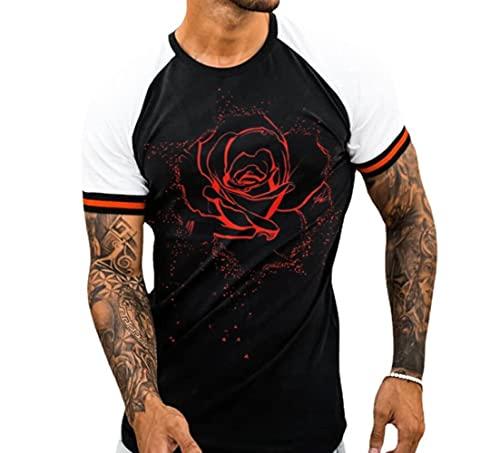 JFX 3D Print T-Shirt heren polyester kleur bijpassende sport korte mouwen ronde kraag Rose vrije tijd