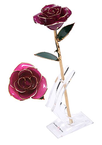 """DuraRose Everlasting Long Stem """"Purple"""" Rose Dipped in 24k Gold WITH STAND & CARD Romantic 'I Love You' Special Occasion Gift for Her on Valentine's Day, Anniversary, Birthday or Mother's Day (Purple)"""