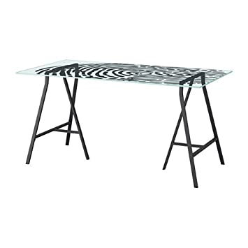 Charmant Ikea Table, Glass, Fingerprint Pattern Gray 20202.14235.3018