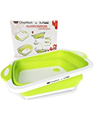 ChopWash by M KITCHEN WORLD Collapsible Dish Tub   Cutting Board   Chopping & Slicing   Washing Bowl with Own Plug for Drainage   Easy Storage   3 in 1 Multipurpose Multifunctional Kitchen Gadget