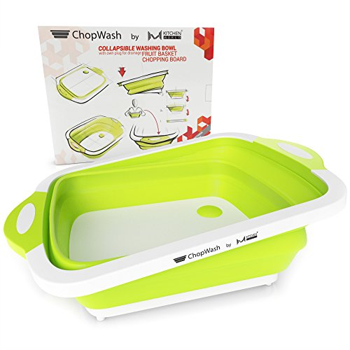 Home And Garden Cutting Board (ChopWash by M KITCHEN WORLD Collapsible Dish Tub | Cutting Board | Chopping & Slicing | Washing Bowl with Own Plug for Drainage | Easy Storage | 3 in 1 Multipurpose Multifunctional Kitchen Gadget)