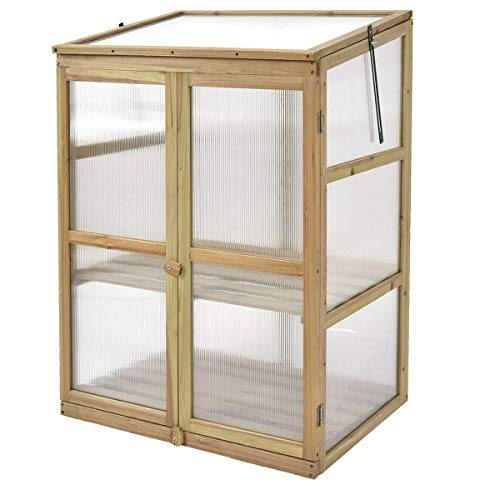 FDInspiration Double Door Garden Raised Plants Slatted Shelf Protection Wooden Frame Greenhouse with Ebook - Greenhouse Glazing Polycarbonate