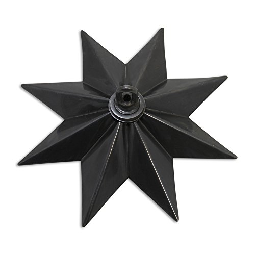 RCH Hardware CN-11-OBB CN-11-S-H-OBB Solid Brass Decorative Star Shaped Ceiling Canopy Medallion Accent for Chandeliers and Pendant Lighting with Matching Screw Collar and Loop, Oil Bronzed Black ()