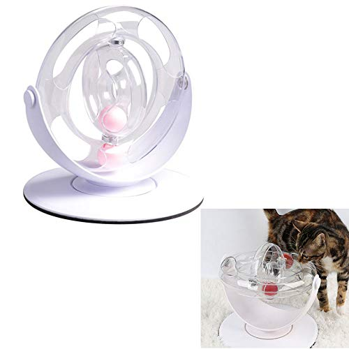 (ZYZ Pet Toy, Space Ring 360° Space Spinning Ball Roller Cat Toy, Giving The Cat More Endless Fun, Prevent Cats from Moving or Overturning Toys While)