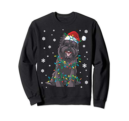 Cairn Terrier Wrapped In Christmas Lights Dog Sweatshirt (Lights In Christmas Cairns)