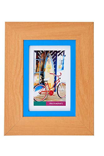 Lambert Frame Color Block Wood Picture Frame, Blue Pastel Blend Photo Display with Glass Front, Easel Back, Hanging Clip, Brown