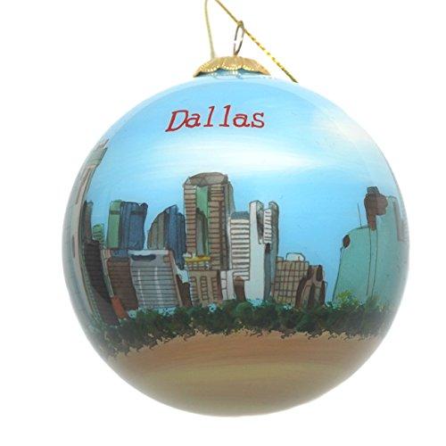 Hand Painted Glass Christmas Ornament - Dallas, Texas Skyline (Studio Ornament Christmas Decor)