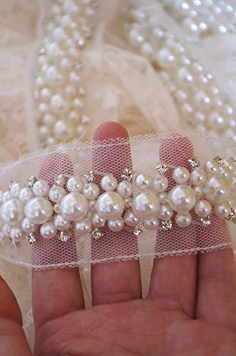 1 Yard Pearl Beaded Trim Lace Pear Bead Rhinestone Trimming for Sash Hair Band Wedding Party Bride Decors Bt016