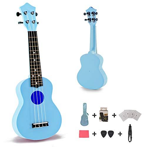 Toy Ukulele Soprano 21 inch Hawaiian Guitar Plastic Ukulele for Children Kids Gift Macaron Color Style-Blue