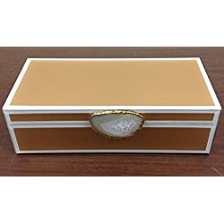 Crystal Collections 27-1G8A-U076 Beautiful Glass Jewelry Box with Agate Stone