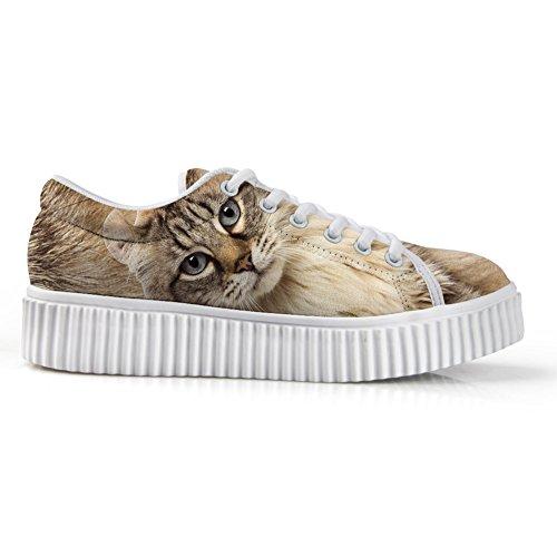 Abbracci Idea Moda 3d Animale Faccia Printg Scarpe Basse Basse Sneakers Piattaforma Cat1
