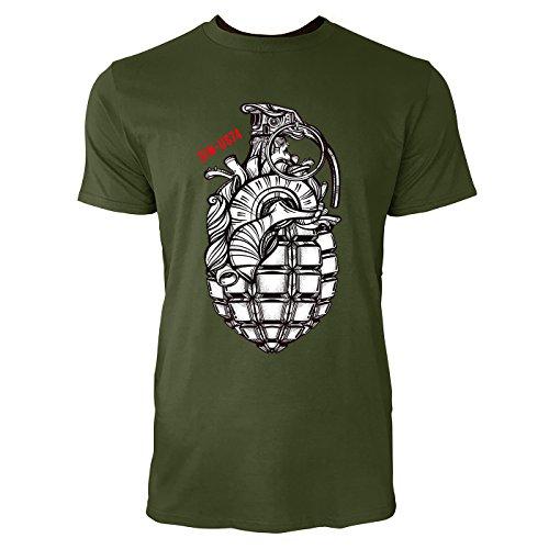 SINUS ART® Handgranate als Herz im Tattoo Stil Herren T-Shirts in Armee Grün Fun Shirt mit tollen Aufdruck