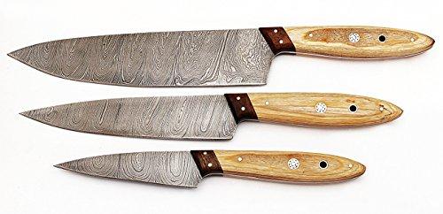 1046LB Custom Made Damascus Steel Kitchen Chef Knife Set 3 Pcs Wood Handle by GladiatorsGuild (Light Brown)