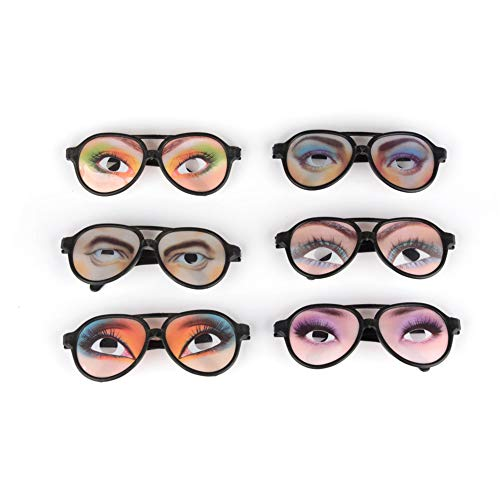 Naisidier 2 PCS Funny Glasses Halloween Trick Toy Male Female Eyes Glasses Prank Eyeglass Party Props(Random Color)