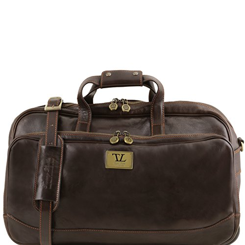 Tuscany Leather Samoa Trolley leather bag - Small size Dark Brown by Tuscany Leather